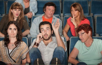 person talking in a cinema
