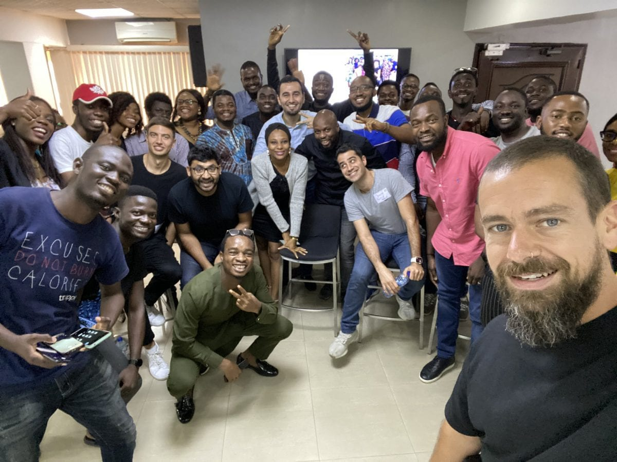 Jack Dorsey and some of Twitter execs during a visit to Nigeria