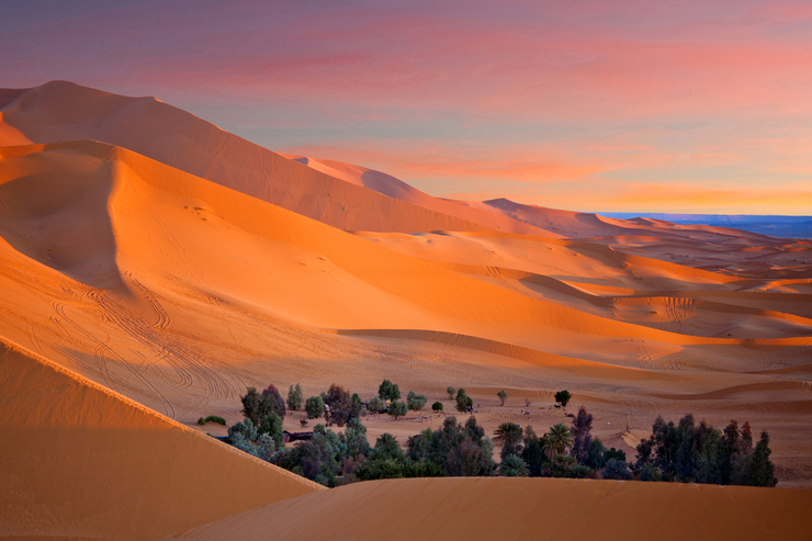 Oasis-over-Sand-dunes-in-Erg-Chebbi-of-Sahara-desert-in-Morocco-Africa