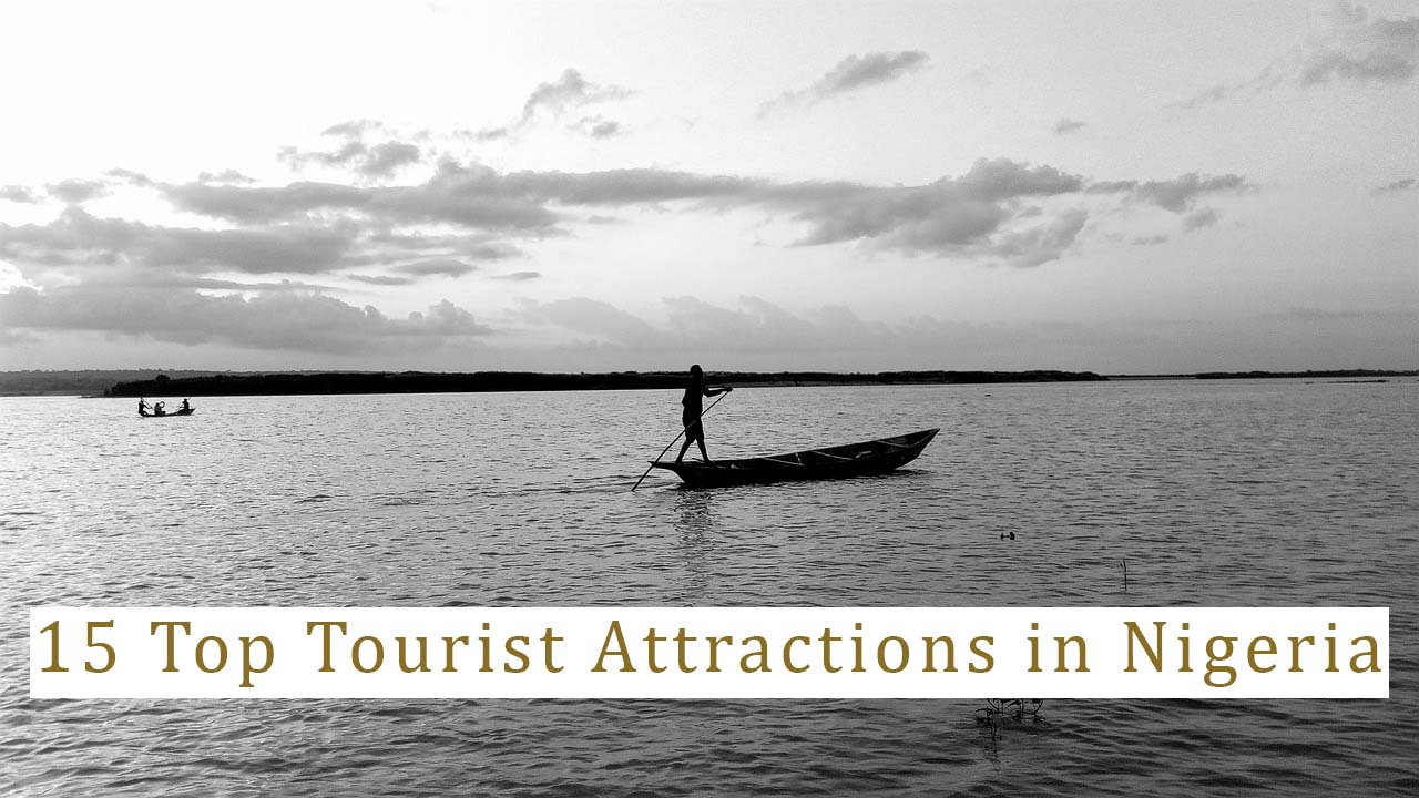 a silhouette of a man is rowing on his boat in Nigeria one of the best tourist attractions