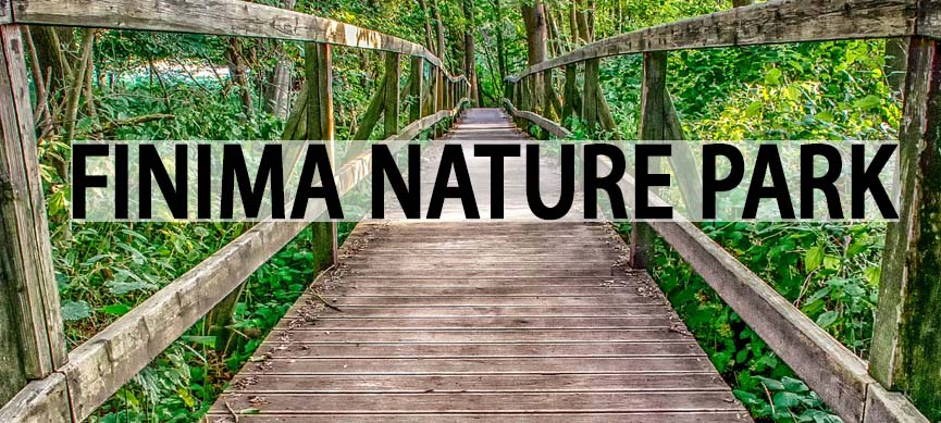 Finima Nature Park with a wooden bridge in a forest