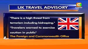 Travel Advisory for UK nationals