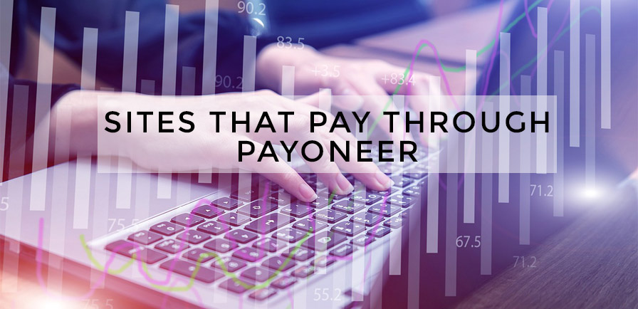 a white woman typing on a laptop with a foreground showing a site with numbers and diagram that pay through payoneer