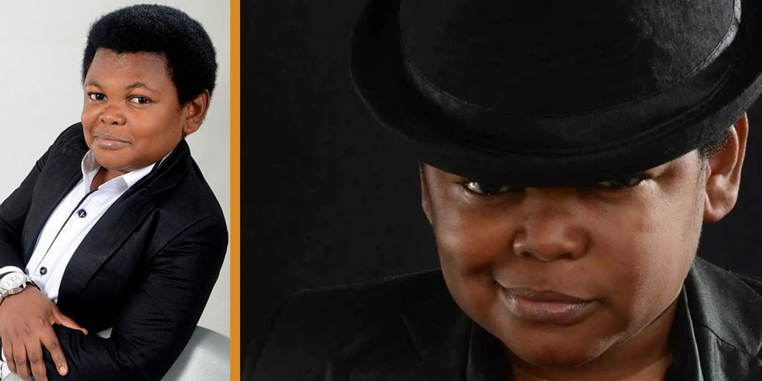 Osita Iheme's wearing a black suit posing for a cover