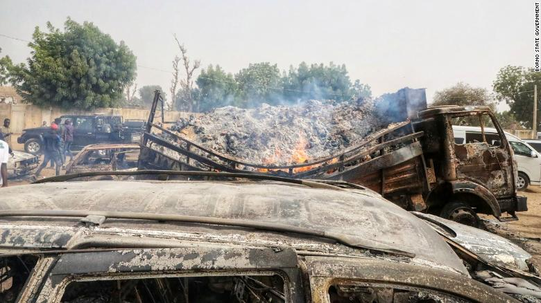 Burnt cars at the scene of the Boko Haram attack