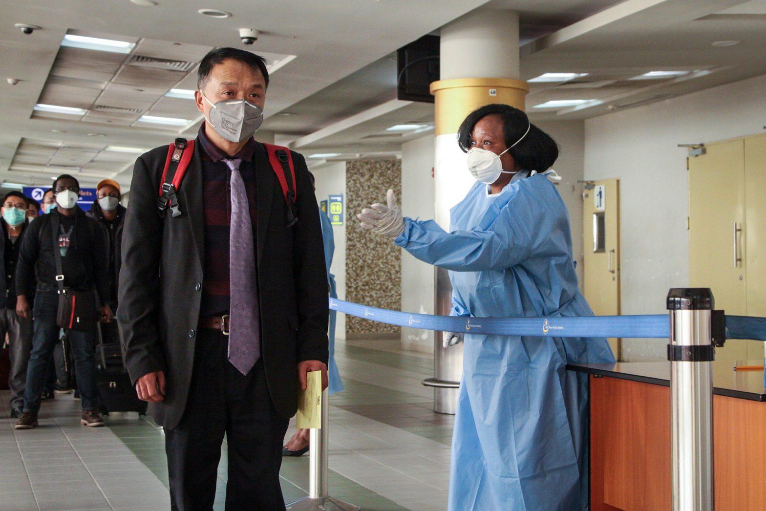 Passengers arriving from China screened for coronavirus upon their arrival at JKIA in Nairobi, Kenya