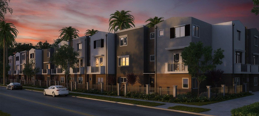 multi apartment line up in colour white grey and brown exterior design for real estate business in Kenya