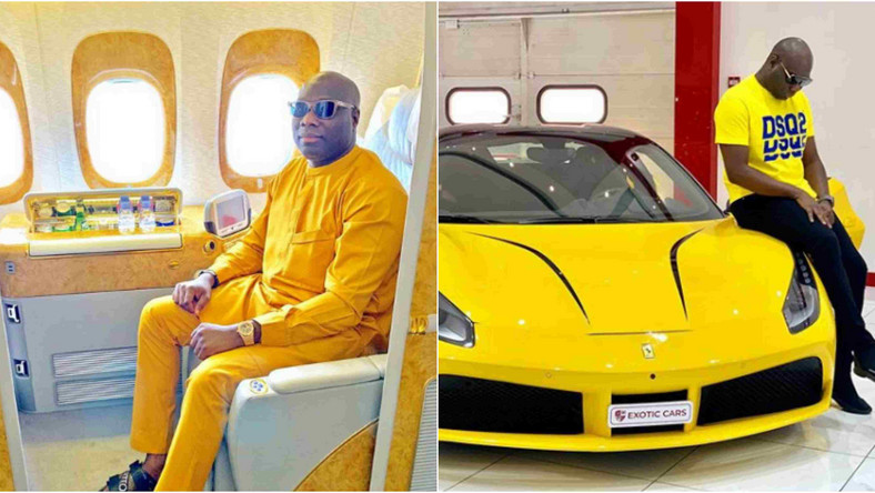 This man Ismaila Mompha dressed in yellow with his yellow lamborghini