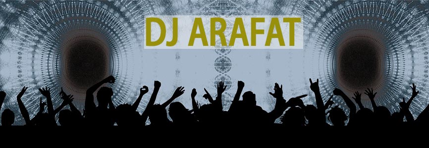 a group of silhouette of people dancing on the music of DJ Arafat