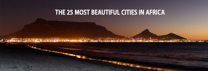 beautiful cities lighting up at night from far away in Africa