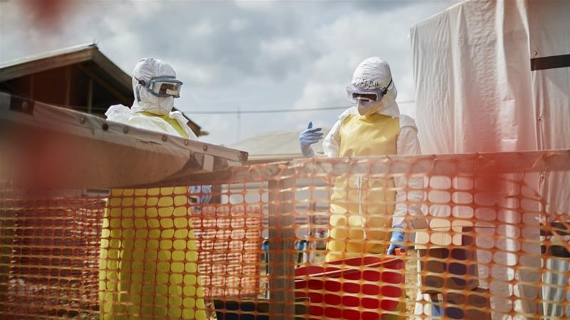 WHO Health officials at work in an Ebola transit center in Beni, North Kivu province, DR Congo