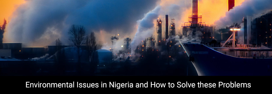 Heavy smoke getting out of the industry at night in Nigeria