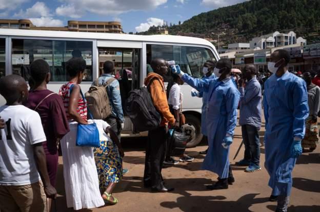 Travelers Temp being monitored in Rwanda