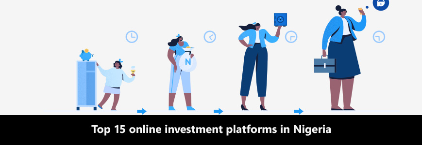 Online investment platforms in Nigeria - vector image with the girl which is growing up. There are her 4 growing stages (from little girl to adult successful woman)