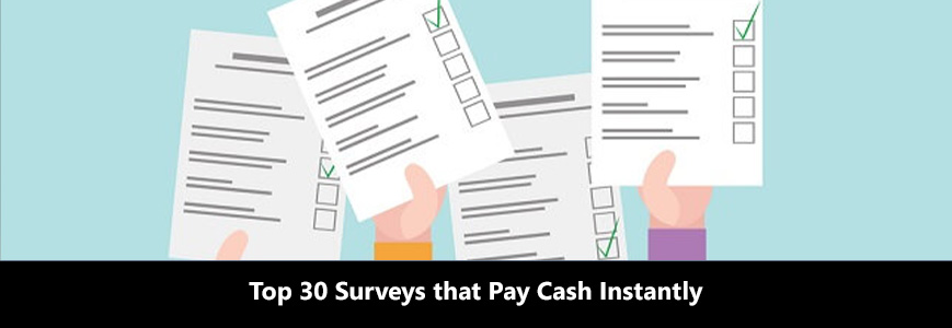 Vector image shows several hands are holding completed surveys, from which people get cash instantly
