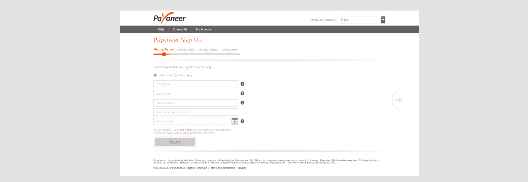 payoneer sign up step 4