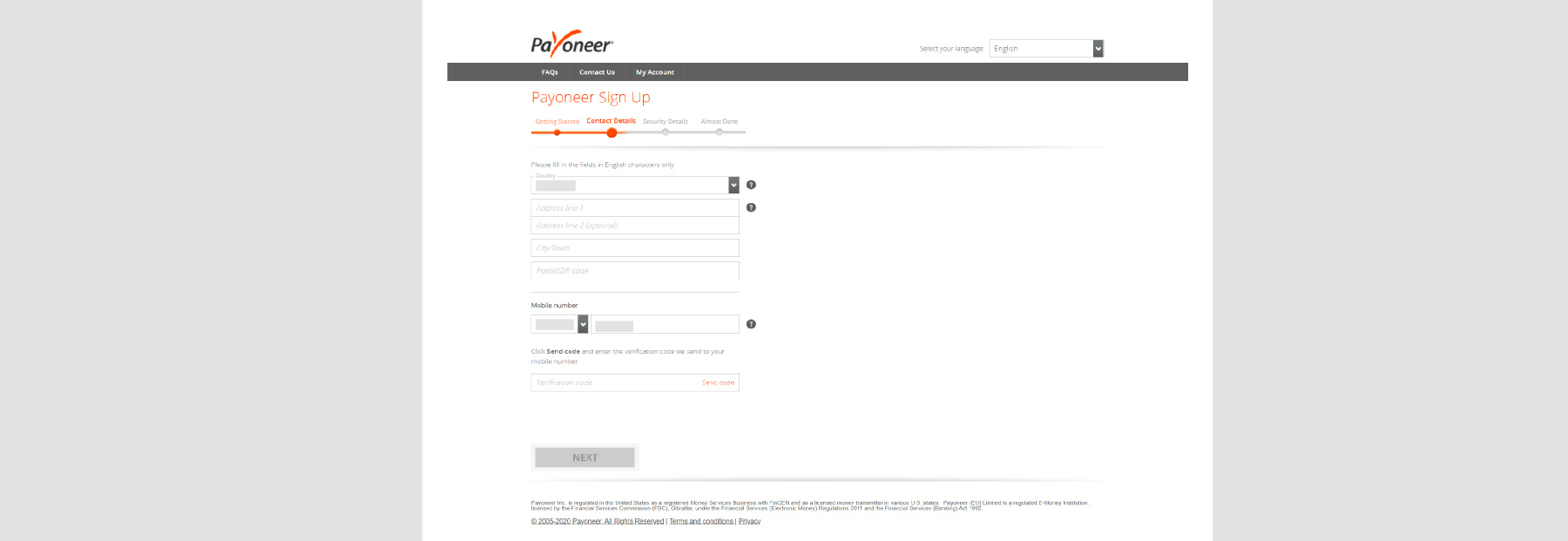 payoneer sign up step 5