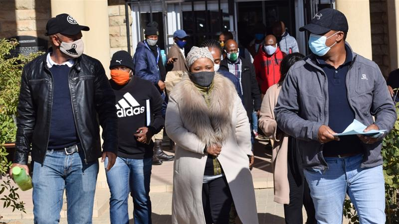 Maesaiah Thabane leaves the magistrate court in Maseru