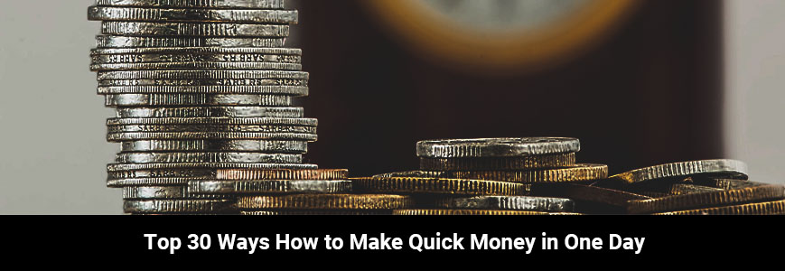 A bunch of silver and gold coins: a quick money to earn in one day