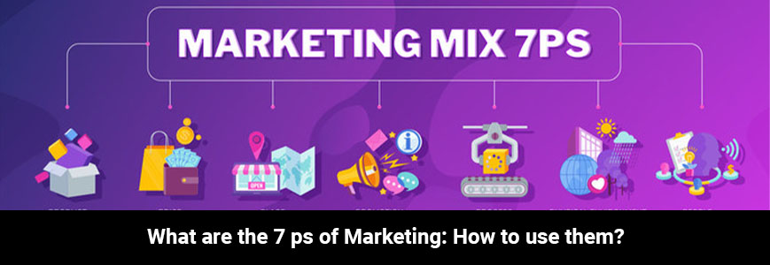 Icon of the 7ps for marketing use with a purple background