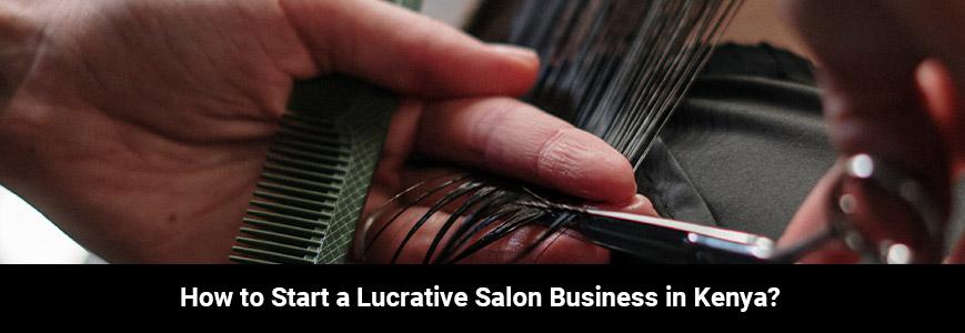 A man is cutting a women hair using a comb and a scissor in a Kenya salon