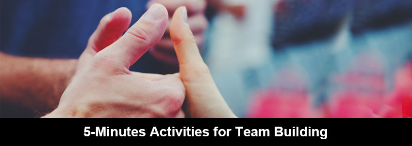 People are showing three thumbs-up for a 5-minute team-building activity