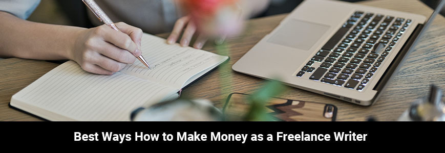 A person is working as a freelance writer to make money