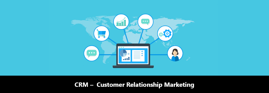 world map with icon of customer relationship marketing