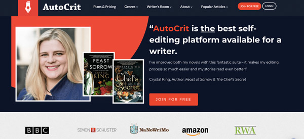 Autocit's home page with the photo of the blond woman and some of her books