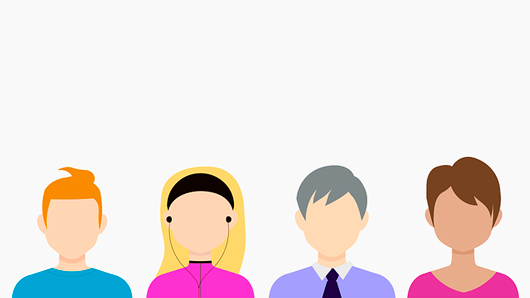 Four different people show demographics characteristics for making a customer avatar.