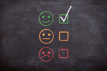 3 types of smiles: good, okey and bad to get a feedback from customer for customer relationship marketing