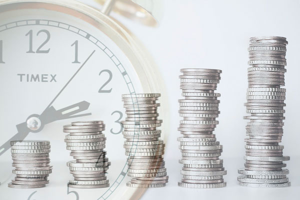 The number of coins increasing in a row show growing of income