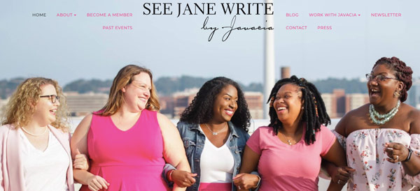 """See jane write"" writing website home page with 5 beautiful women are walking on the street"