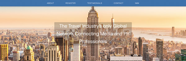 "The home page of writing website ""TravMedia"" with the big modern city like New York"