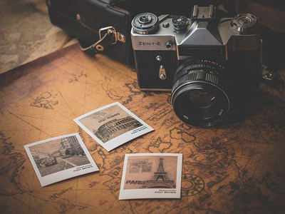 Old camera is on the map with some vintage photos from different places worldwide for instagram business account