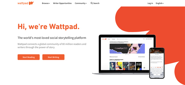 "The home page of the writing website ""wattpad"" with a smartphone and notebook"