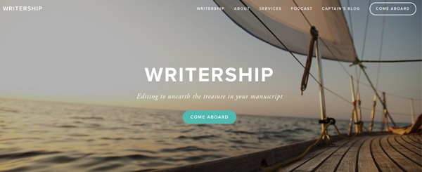 "The home pafe of writing website ""writership"" with sailing yacht on the sea in the background"