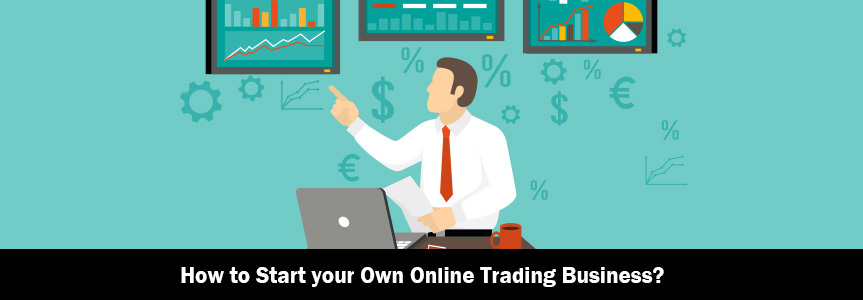 an illustration man explaining strategies to start your own online trading business