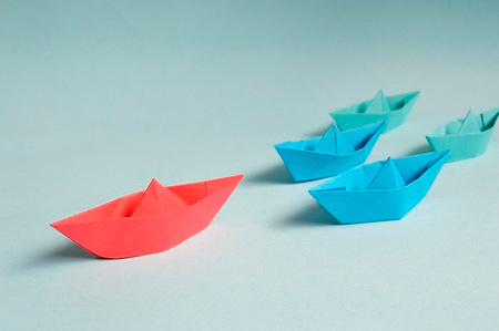 blue paper boats behind the red boat like competition that you should analyse for writing restaurant business plan