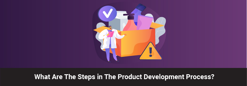 process of product development icon with a purple background