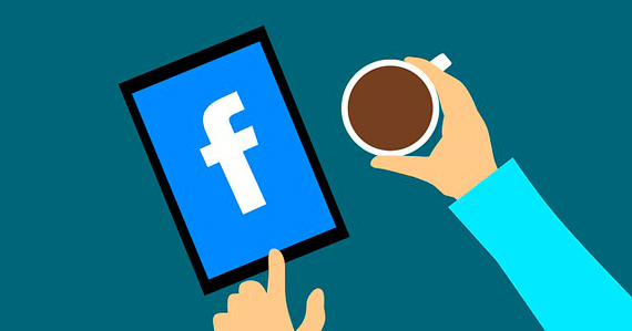 facebook icon with a cup of coffee for writing a social media strategy plan