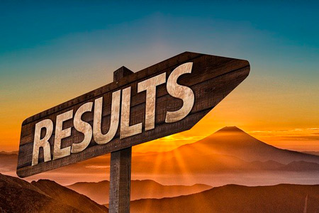 "A pointer to the right with written word ""results"""