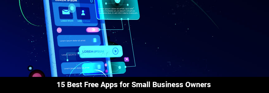 a smart phone on a dark blue background showing some free apps for small business