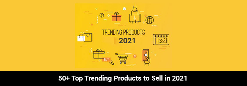 a list in circle of trending product to sell in icon style on a yellow background