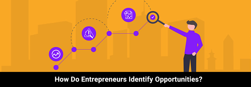 a graphic icon showing a logo of trends identifying opportunities for entrepreneurs