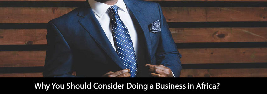 African man is wearing a blue business suit to do business in Africa