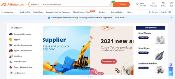 a screenshot of alibaba.com where you can start your importation business in nigeria