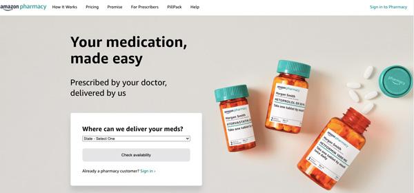 amazon pharmacy website screen