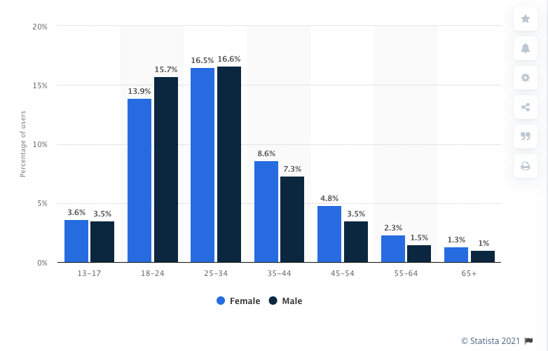 Instagram demographics, where the biggest part of users is 25-34years old