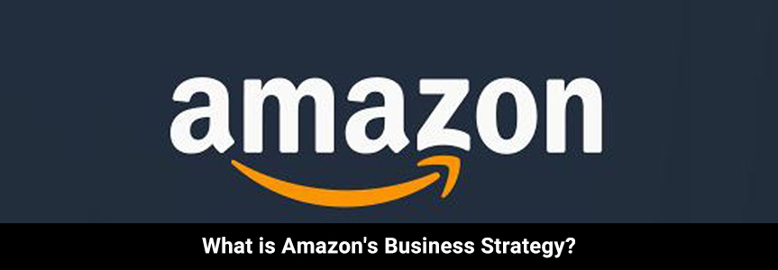 logo of amazon in white with bold lettering on a dark blue background for business strategy